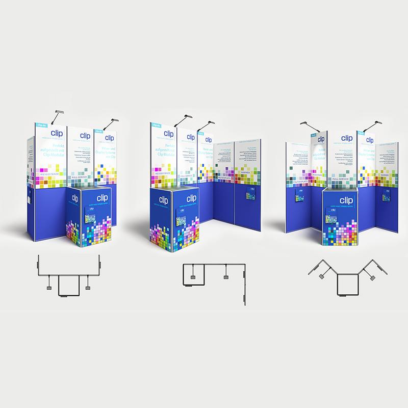 Le Kit Maxi Infostand aus 5 Stellwänden und Theke variante 01