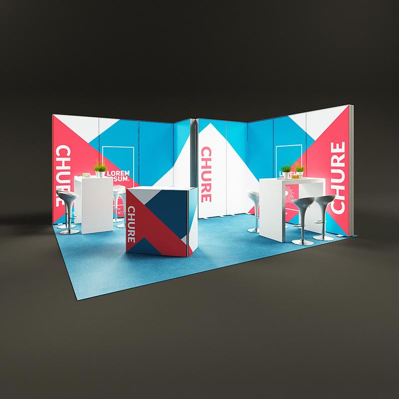 Pixlip Go LED Messestand Eckstand hinterleuchtet Leuchtwand mit kabine 5 x 4,5 m