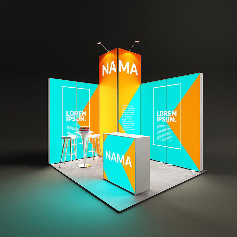 Pixlip Go LED Messestand eckstand hinterleuchtet Leuchtwand mit kabine 3,5 x 3 m