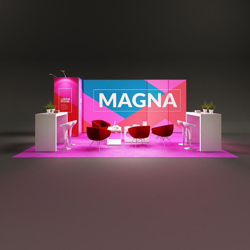 Pixlip Go LED Messestand kopfstand hinterleuchtet Leuchtwand mit kabine 6 m