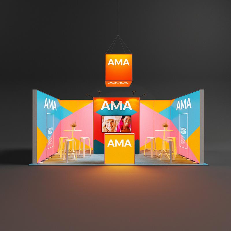 Pixlip Go LED Messestand reihenstand hinterleuchtet Leuchtwand mit kabine 6 x 3 m