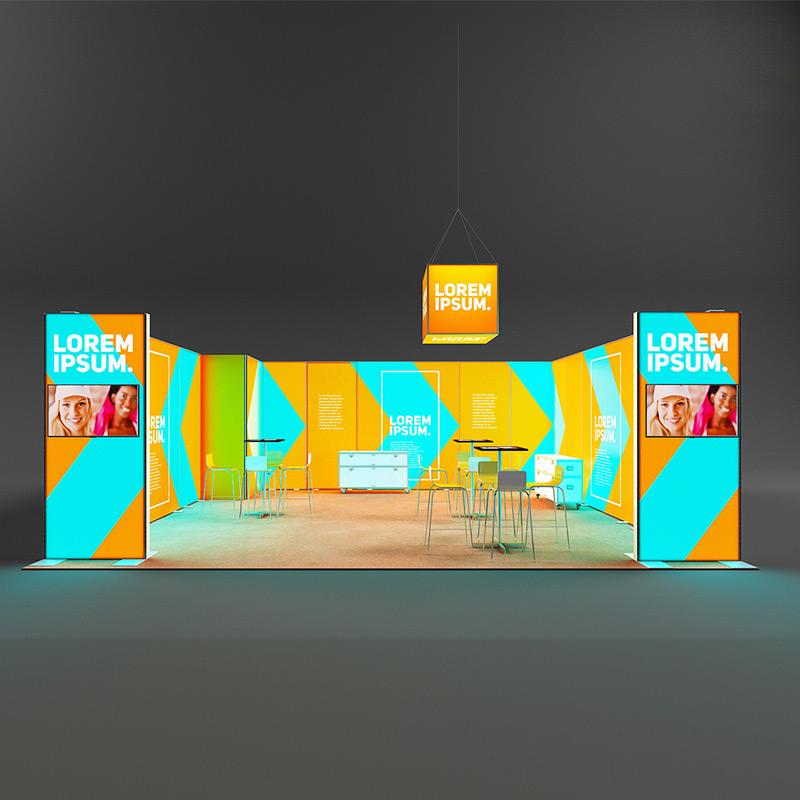 Pixlip Go LED Messestand reihenstand hinterleuchtet Leuchtwand mit kabine und monitorstelen 7 x 6 m