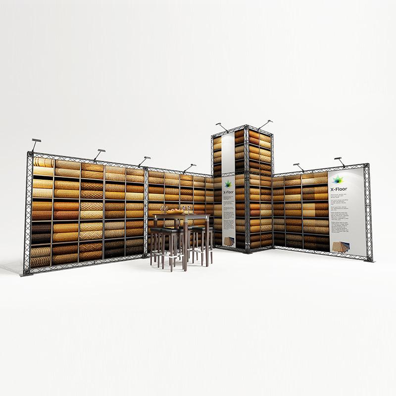 cube10 008 mobiler messestand eckstand traversen messesystem 6,5 x 4 m