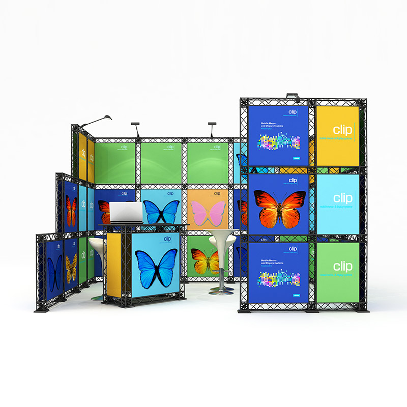 cube10 029 mobiler messestand reihenstand traversen messesystem 4 x 3 m