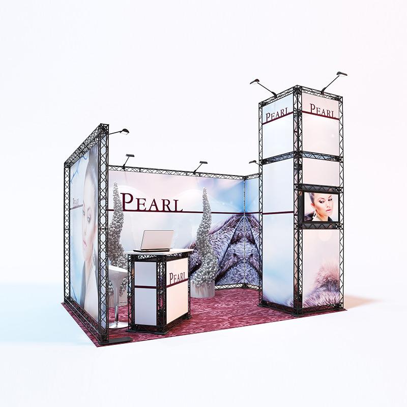 cube10 034 mobiler messestand reihenstand traversen messesystem 4 x 3 m seitlich