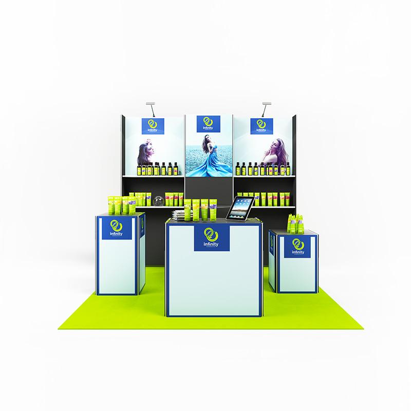 kcm 029 clip modular mobiler messestand kopfstand 9 qm