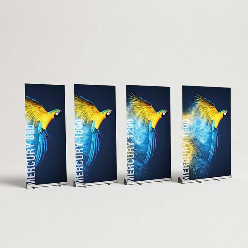 mercury banner rollup display mit wechselkassette auswechselbare grafik