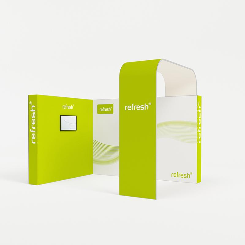 refresh kit 029 mobiler messestand eckstand mit monitor tv und bogen 4 x 3 m