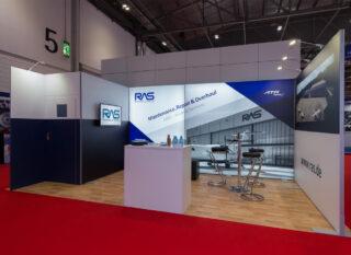 Rheinland Air Service GmbH, MRO Europe 2017, Reihenstand aus den Messesystemen MODULUX und Clip Modular, Standfläche: ca. 6 x 3 m,