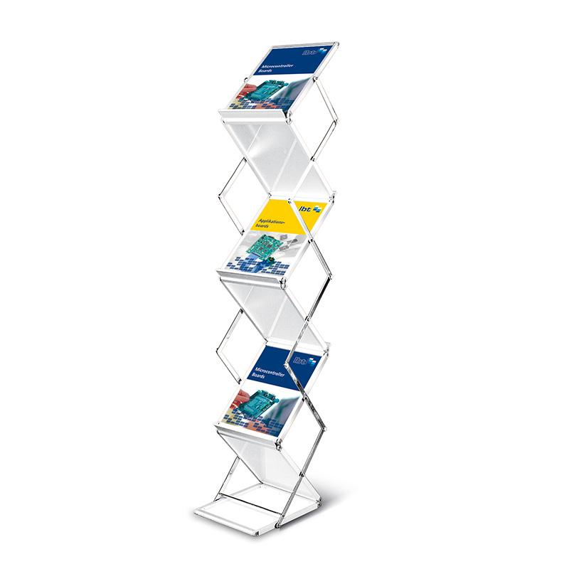 dual info prospektständer din a4 aus metall zusammenklappbar beidseitig fächer