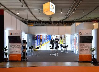 Logistic Networking & Consulting GmbH, Logimat 2019, mobiler Messestand ca. 7 x 6 m, Kombination PIXLIP GO und Modulux