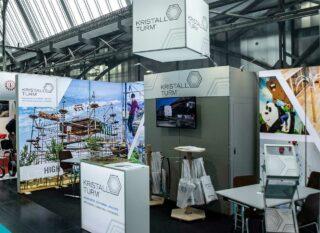 Kristallturm Gmbh & Co. KG, Interalpin 2019, mobiler Messestand ca. 6 x 3 m, Kombination PIXLIP GO und Clip Modular