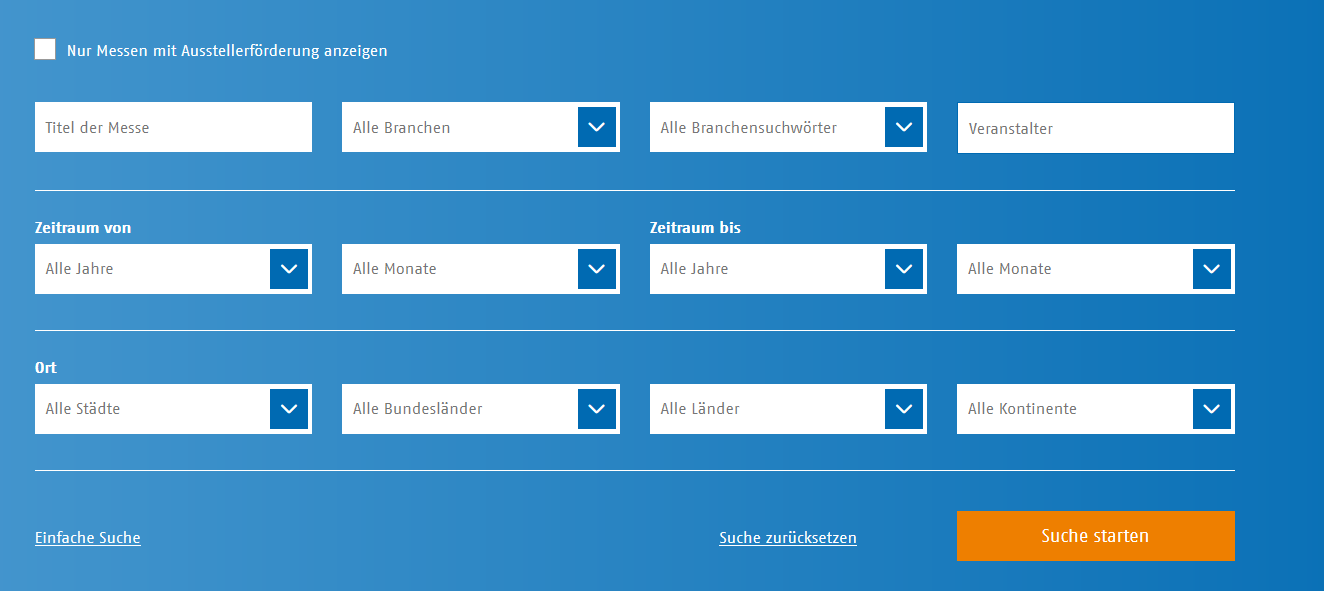 Screenshot Messefinder AUMA