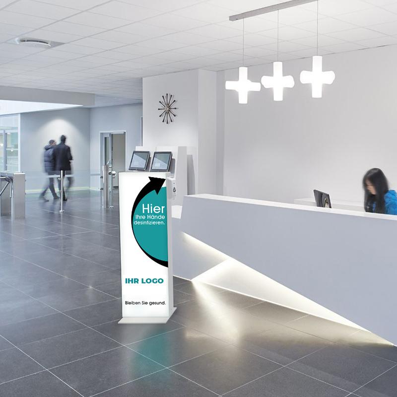 Infowand mit Sensor Desinfektionsspender