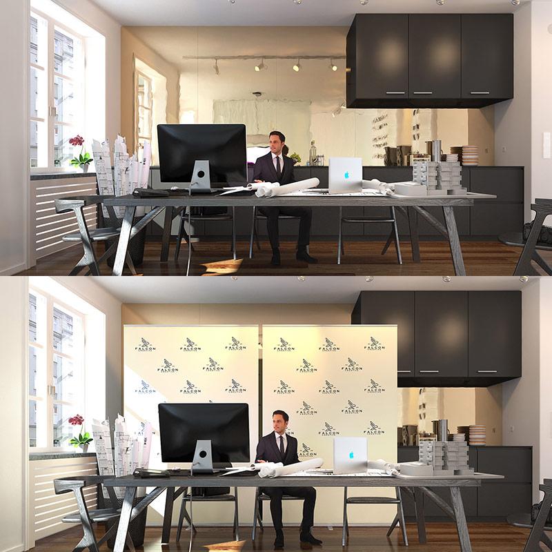 rückwand videokonferenz home office banner vorher nachher